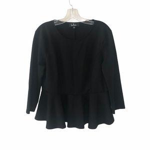 Lulus Black Long-Sleeve Peplum Shirt XL